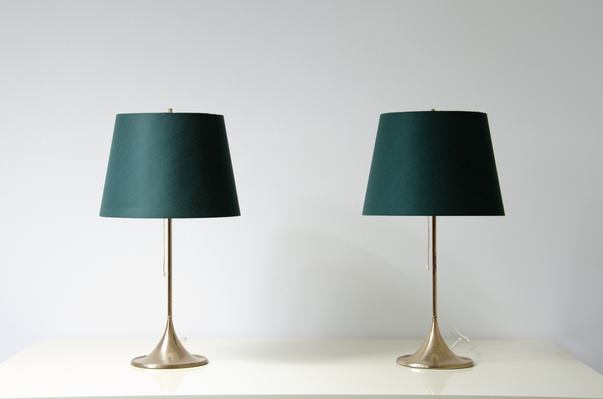 H.Agne Jacobsson, pair of 1960's elegant table lamps with silk shade.