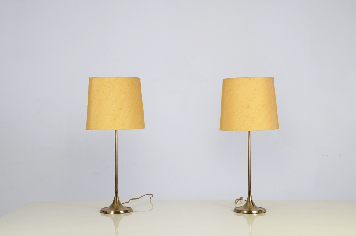 Pair of 1960's little table lamps with silk shade.