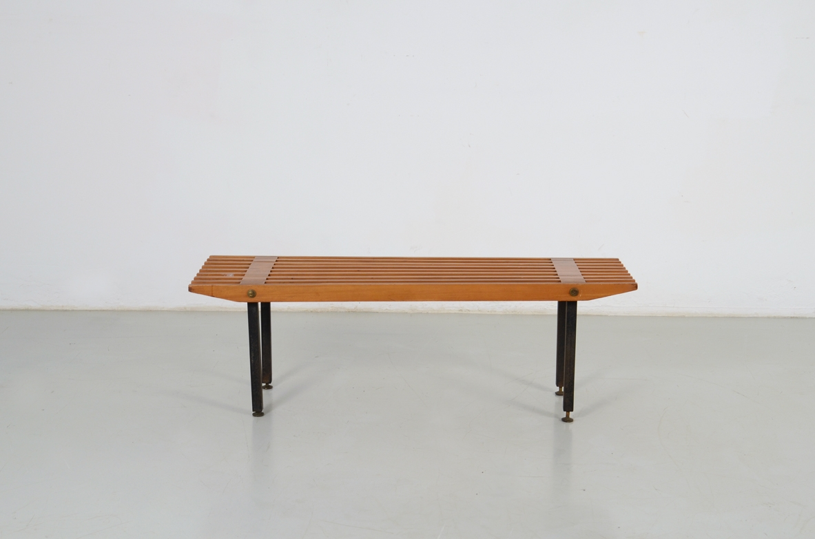 Bench in maple wood with lacquered metal supports, Italy'1960ca.