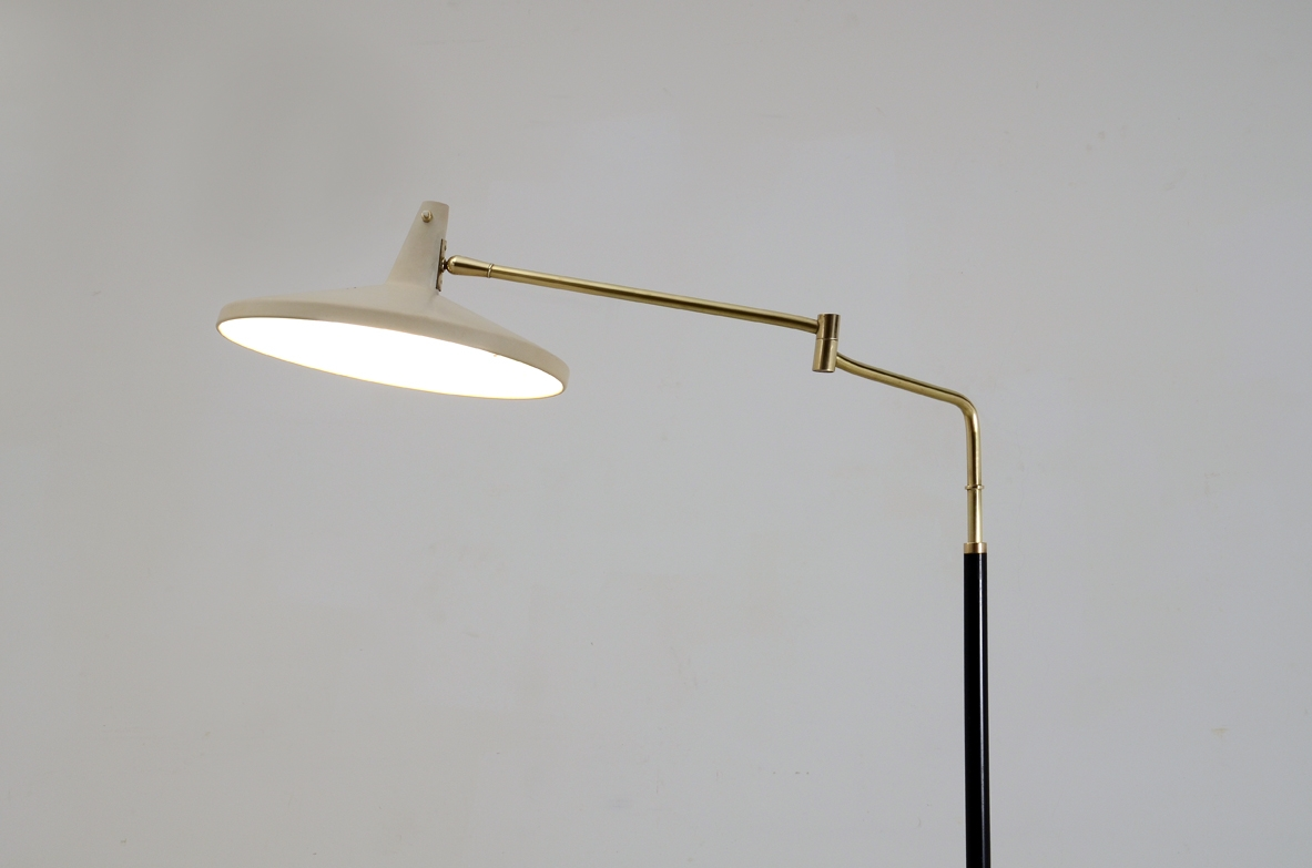 Stilnovo, floor lamp in metal and brass, Italy 1955