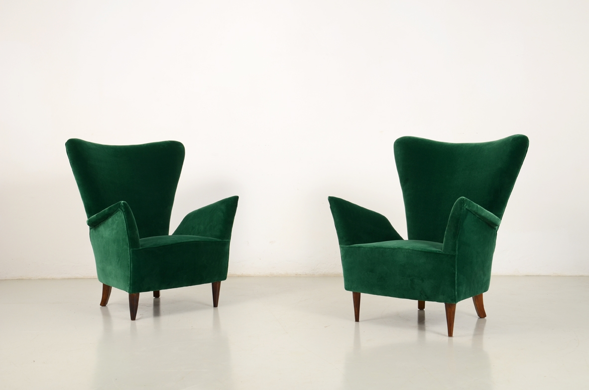 Pair of velvet armchairs, 1950's Italy.