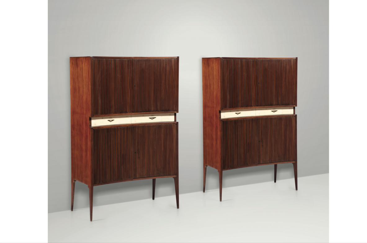 Pair of sideboards with wooden frame, Italy 1950ca.