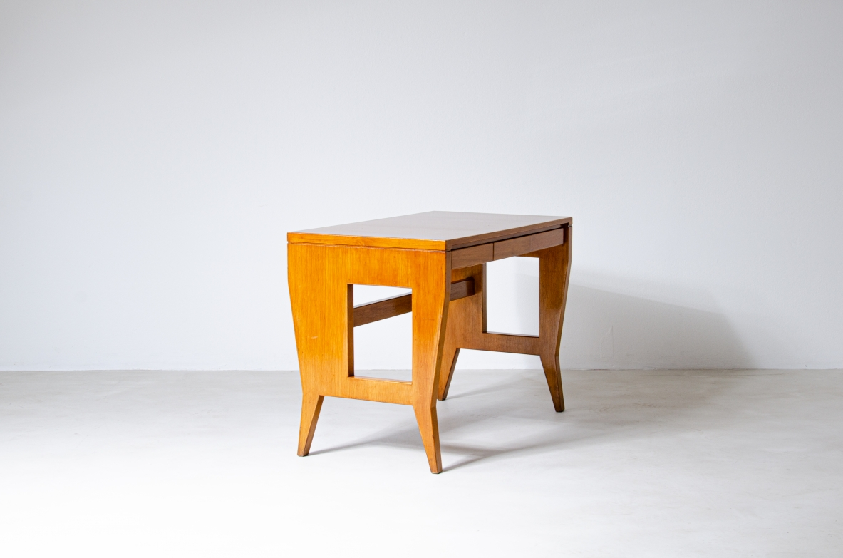 Giò Ponti, desk with wooden structure and brass tips, original brand BNL
