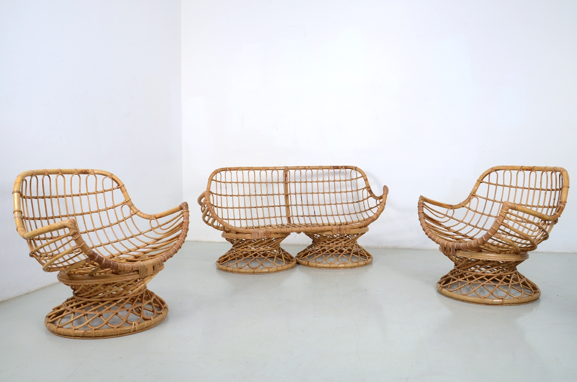 Pair of armchairs and sofa in rattan in perfect conditions, Italy 1960's.