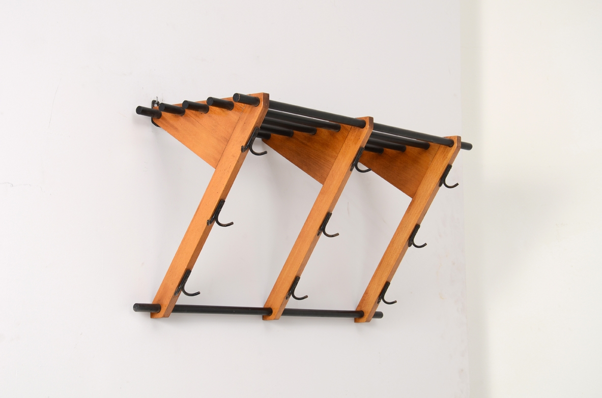 Coat hanger in teak wood and metal, Italy 1970's.