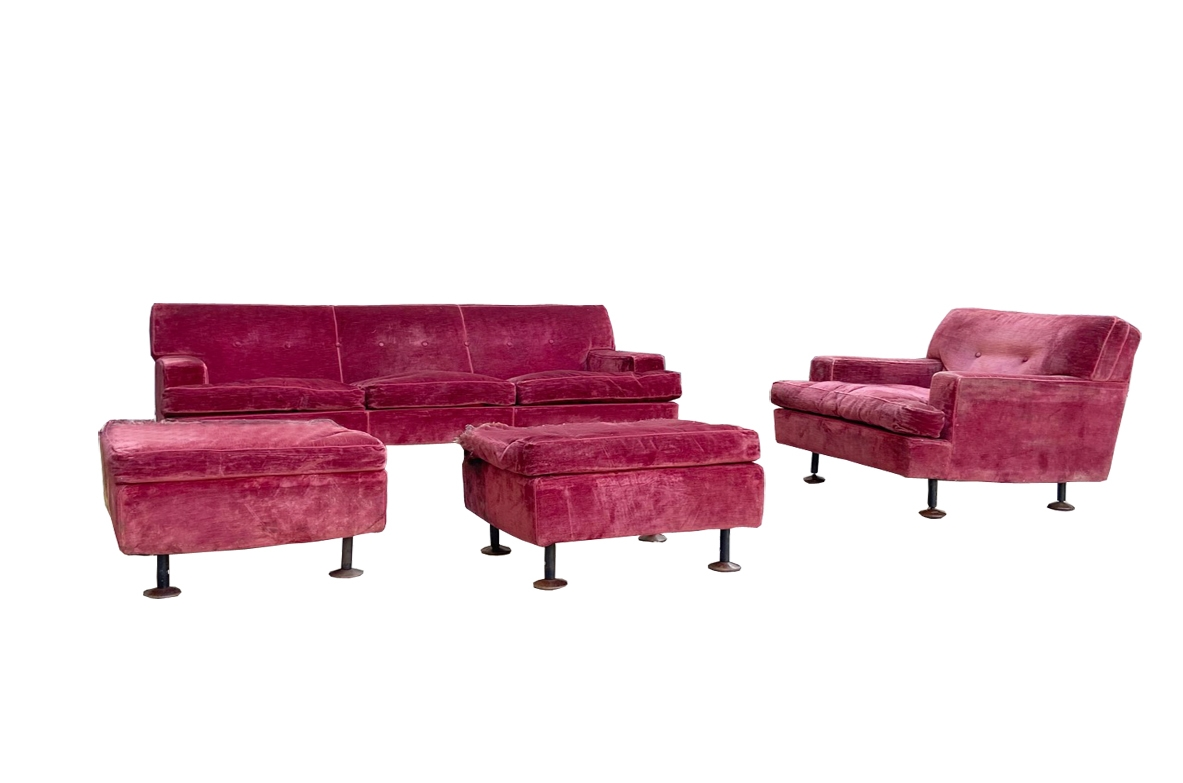 "Marco Zanuso, ""Square"". One sofa, a pair of armchairs and two stools, prod. Arflex 1962."