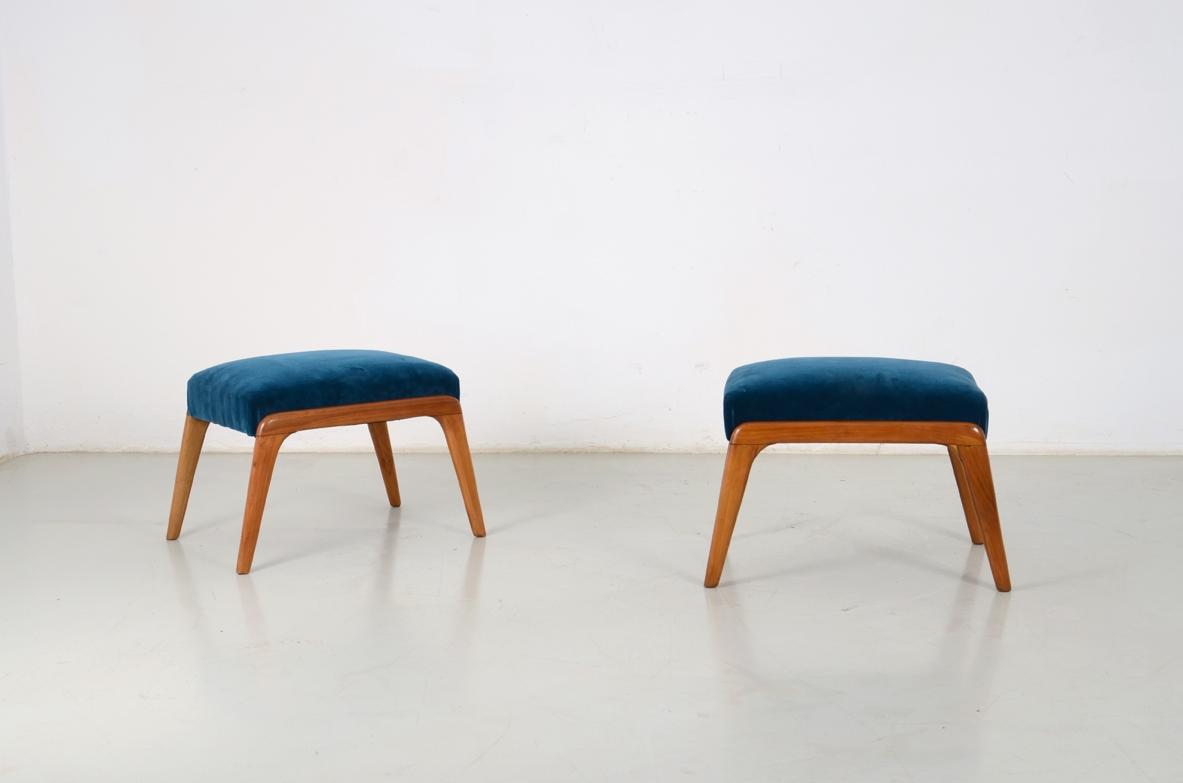 Pair of small stools in cherry wood, Italy 1950's.