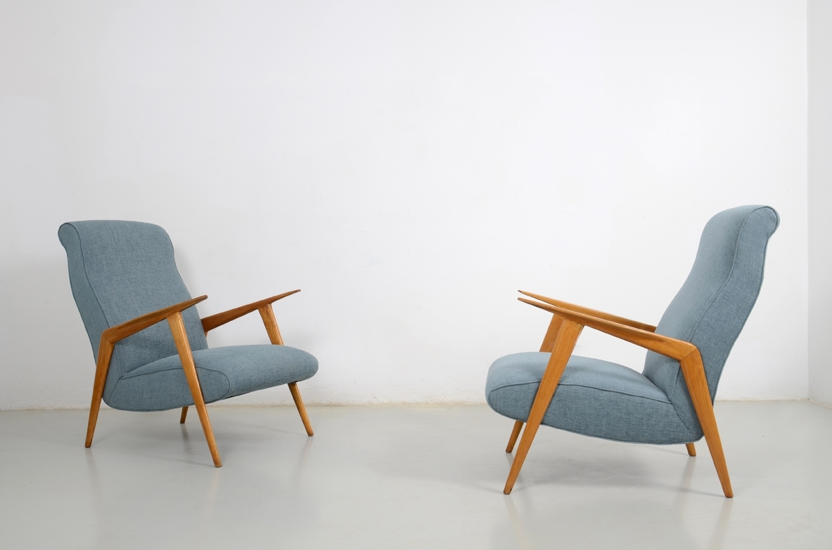 Carlo de Carli, pair of 1950's Armchairs in oak.