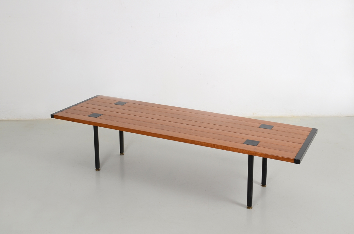 Ettore Sottsass, rare low table in wood and metalwork, prod.Poltronova 1957.