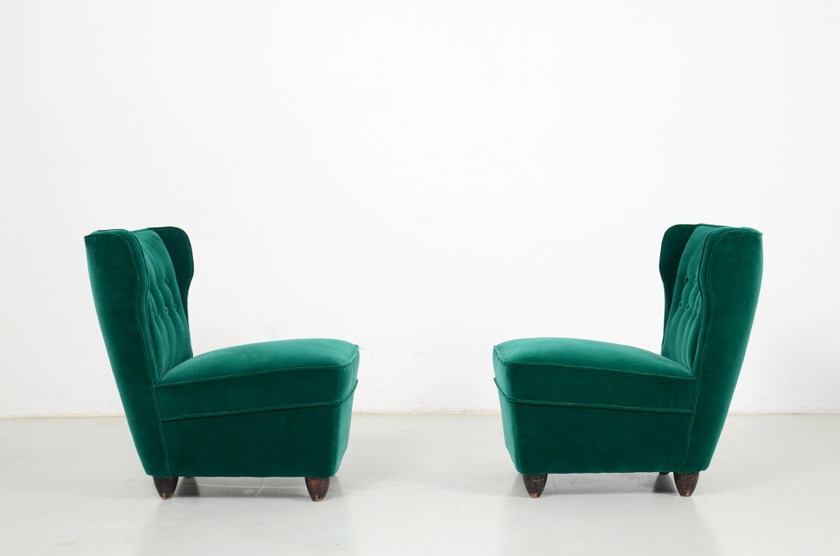 Melchiorre Bega, nice and elegant small 1940's pair of upholstered side chairs.