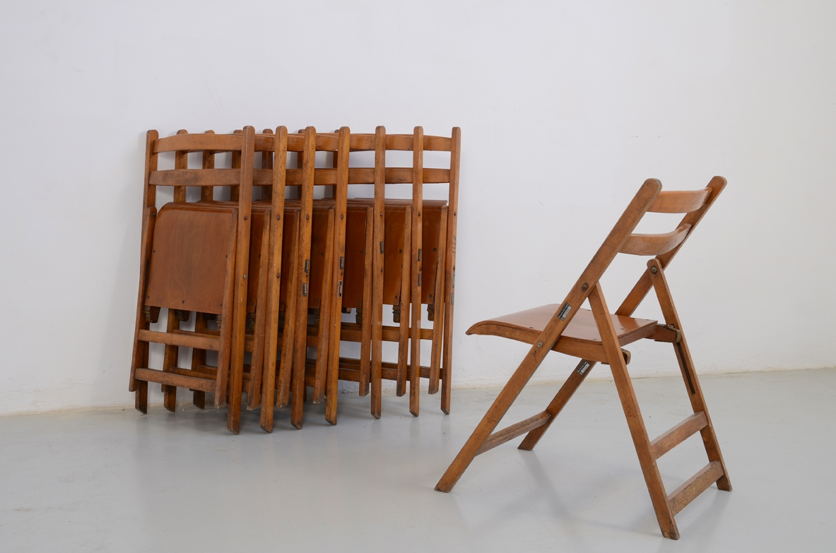 Italian 1950's set of 10 chairs from the University of Padua.