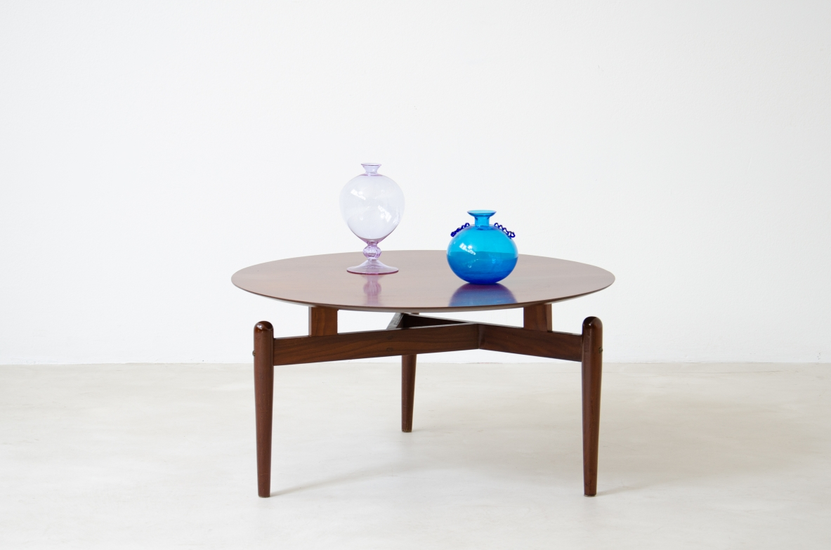Italian 1950's coffee table with a nice triangular base.