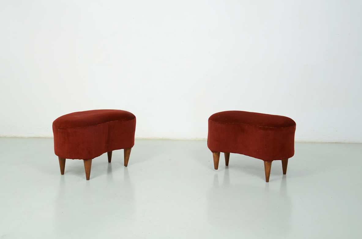 Pair of Italian 1950's bean-shaped stools, covered in velvet.