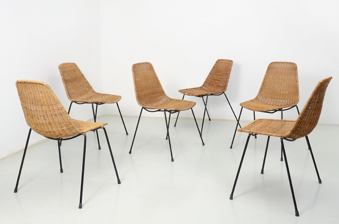 Gianfranco Legler, Italian rare set of chairs with metal base and rattan seat, designed in 1951.