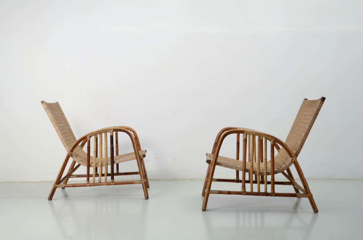 Splendid pair of armchairs with two stools in real perfect conditions, Italy 1950's.