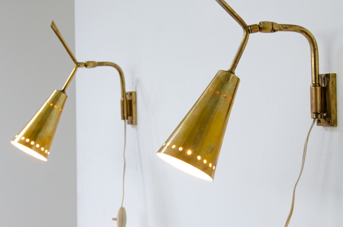 Pair of sconces clamp with perforated brass cones, 1950ca.