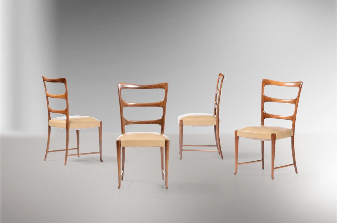 Paolo Buffa, Four chairs with wooden support structure and fabric coverings.
