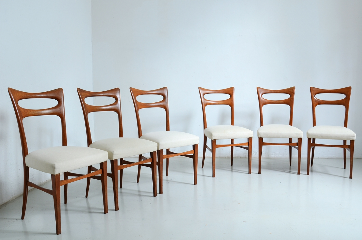 Elegant group of six cherry wood chairs with upholstered seat