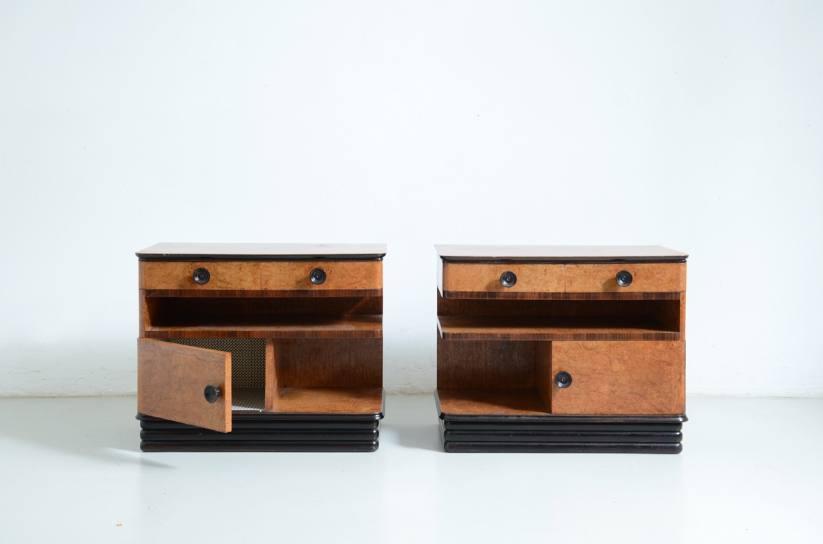 Pair of maple wood bedside tables