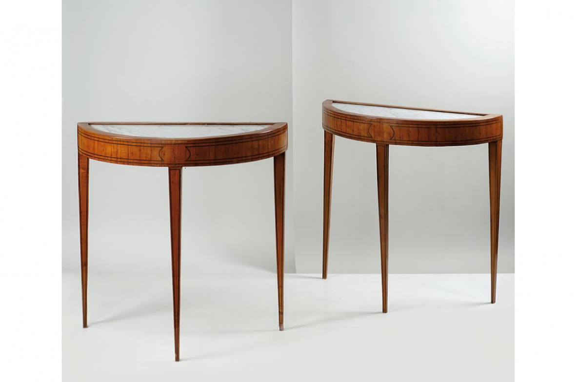 Guglielmo Ulrich, pair of very elegant console tables designed for a private property. Casa Guazzoni, Vicenza, 1954.