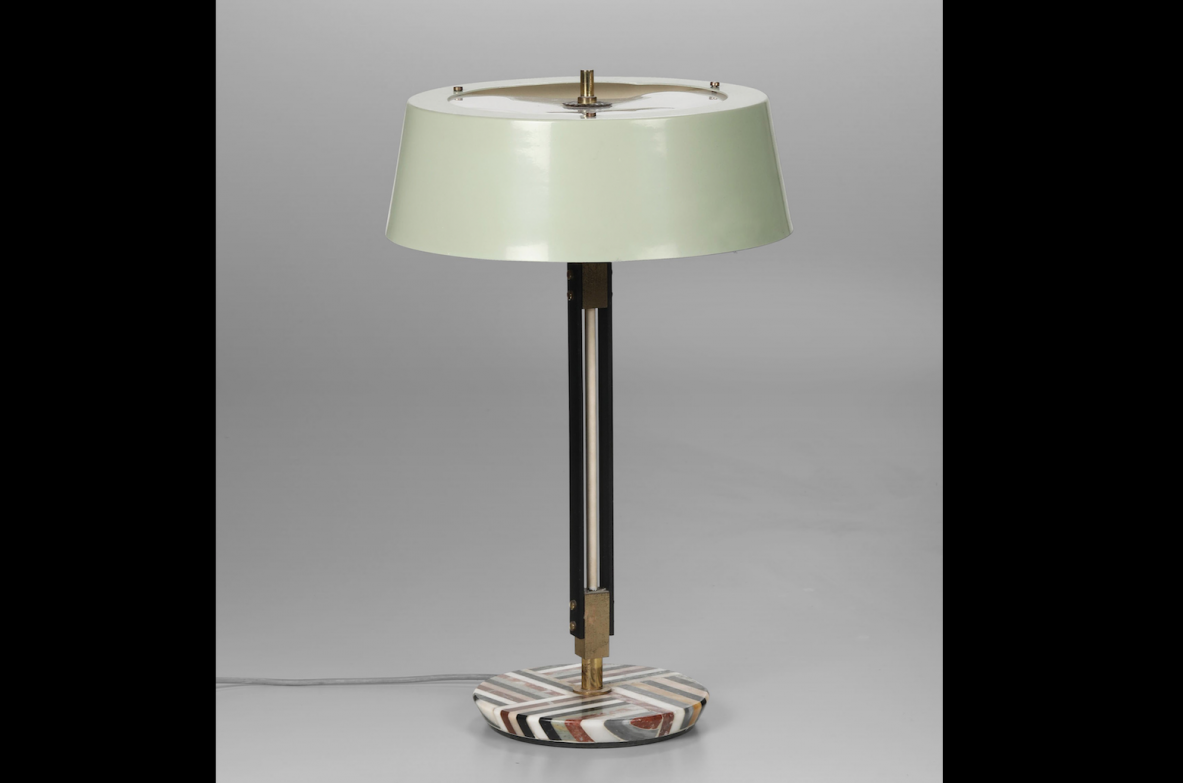 Stilnovo, original table lamp with structure in brass and lacquered metal, marble base.