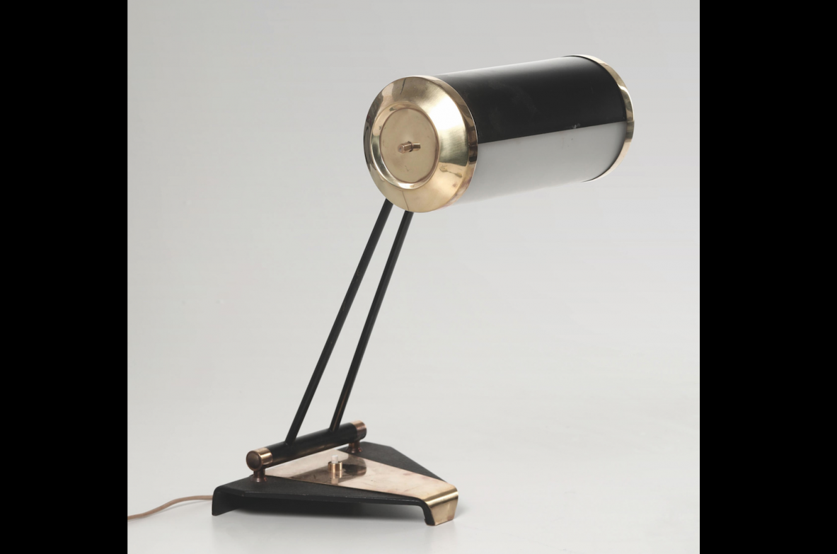 Stilnovo, table lamp with structure in brass and lacquered metal.
