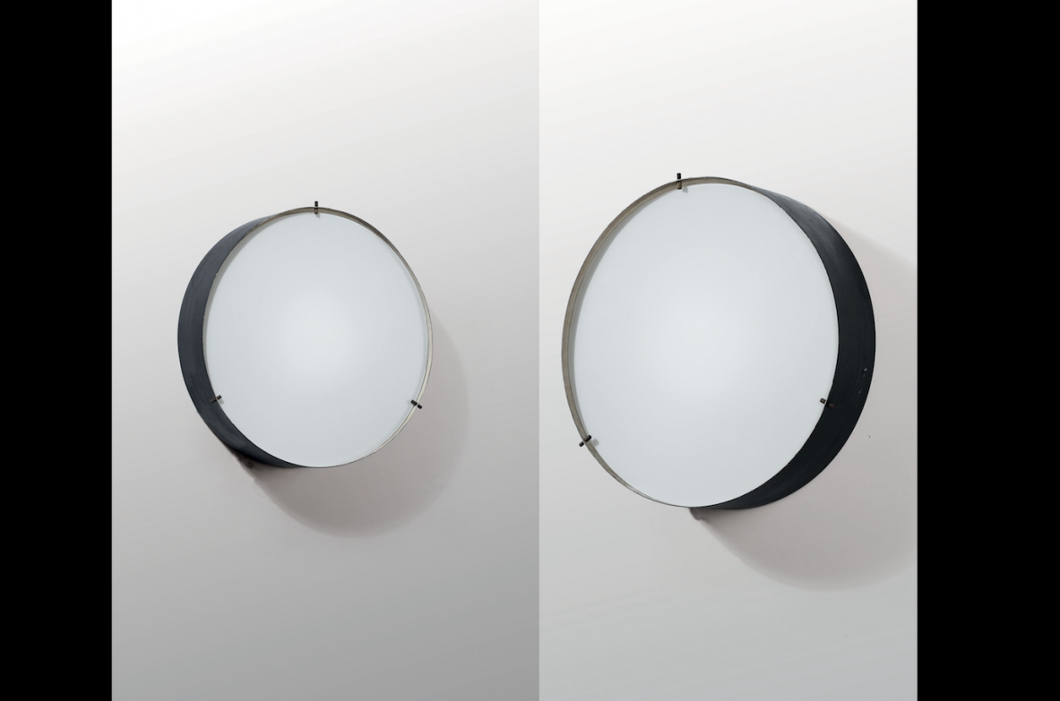Bruno Gatta, pair of wall lamps with structure in lacquered metal and opal glass.