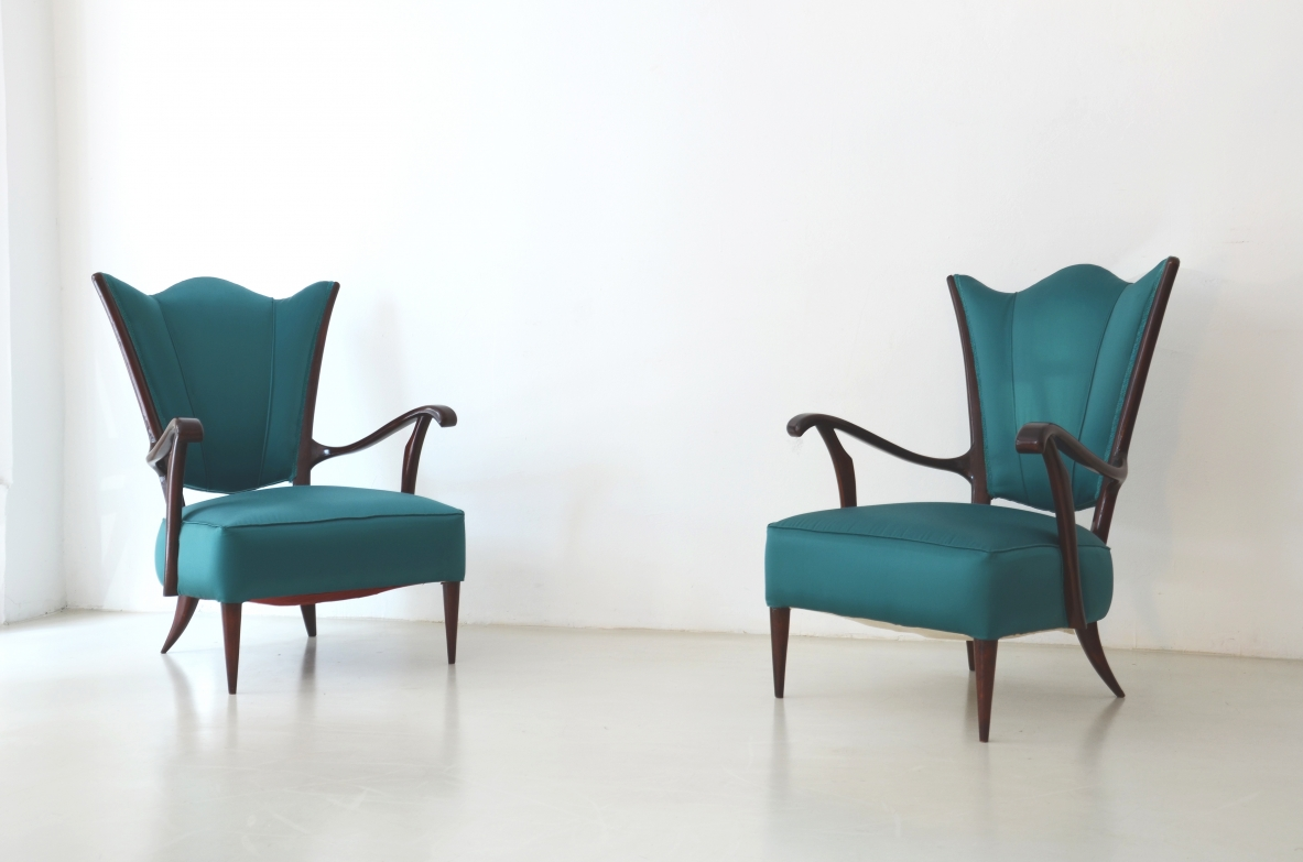Pair of elegant walnut armchairs upholstered in satin fabric, Italy 1950ca.