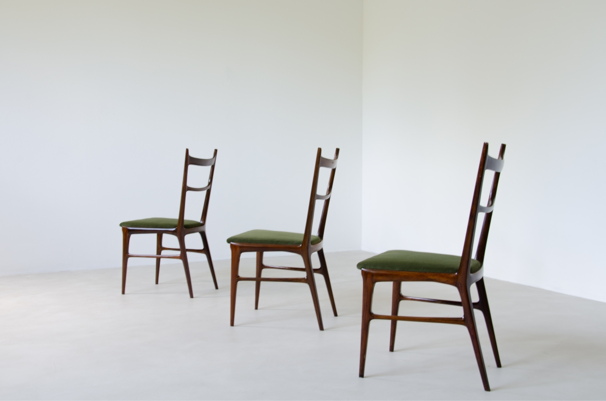 La Permanentedi Cantù, a refined group of six wooden chairs with velvet upholstered seat.