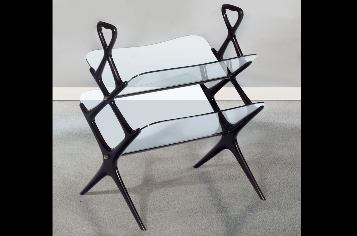 Cesare Lacca, elegant magazine rack with wooden frame and beveled glass tops.