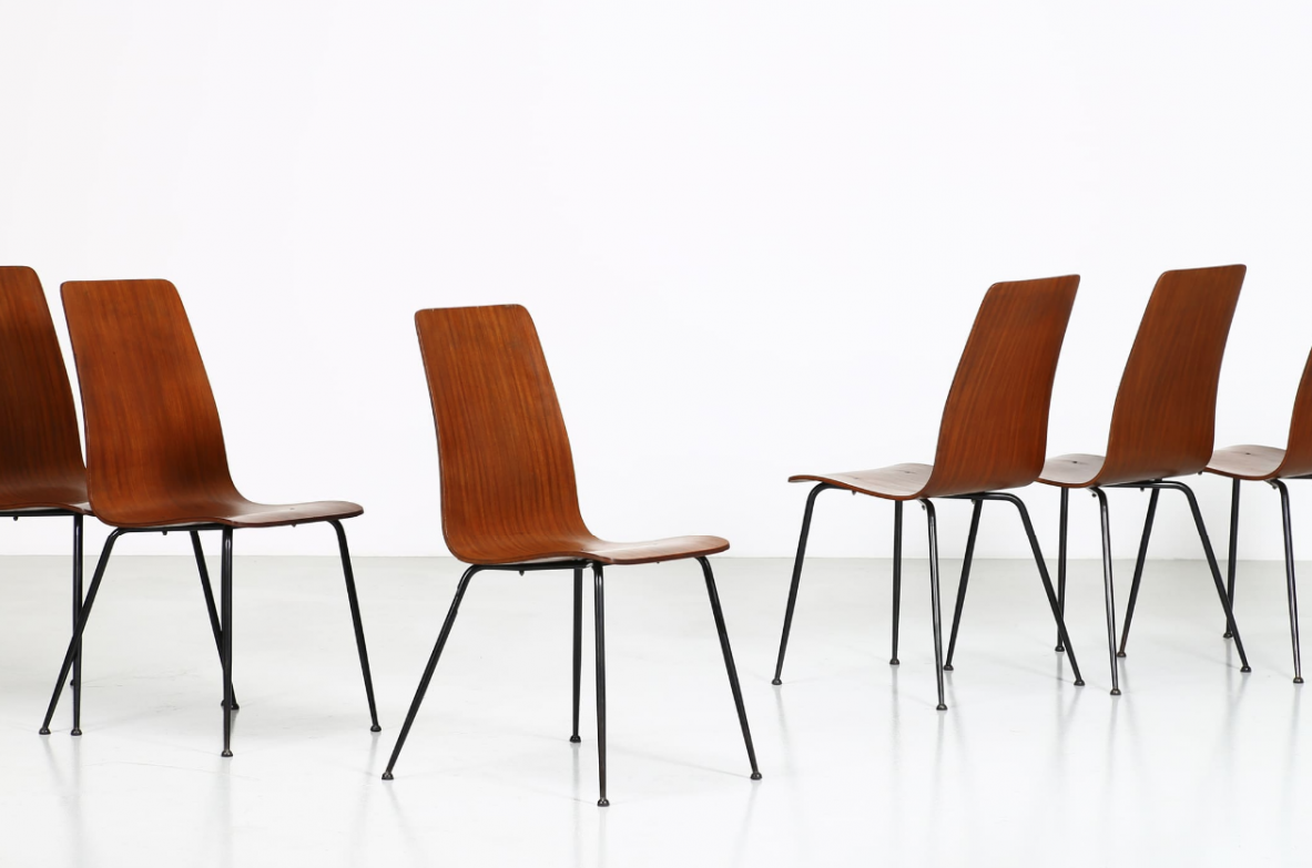 Carlo Ratti, set of six very nice 1950's chairs in wood and metal.
