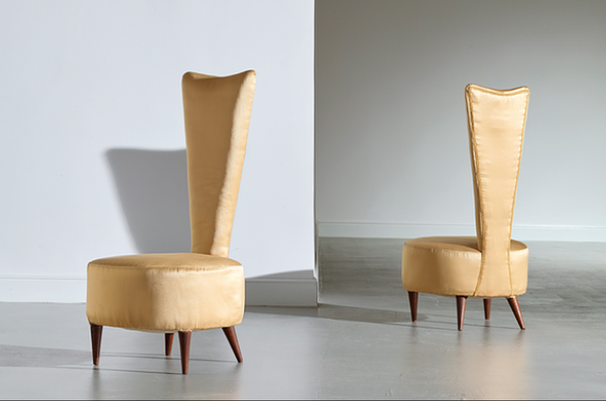 Cesare Lacca. Pair of very rare 1950's italian, padded in satin, chairs.