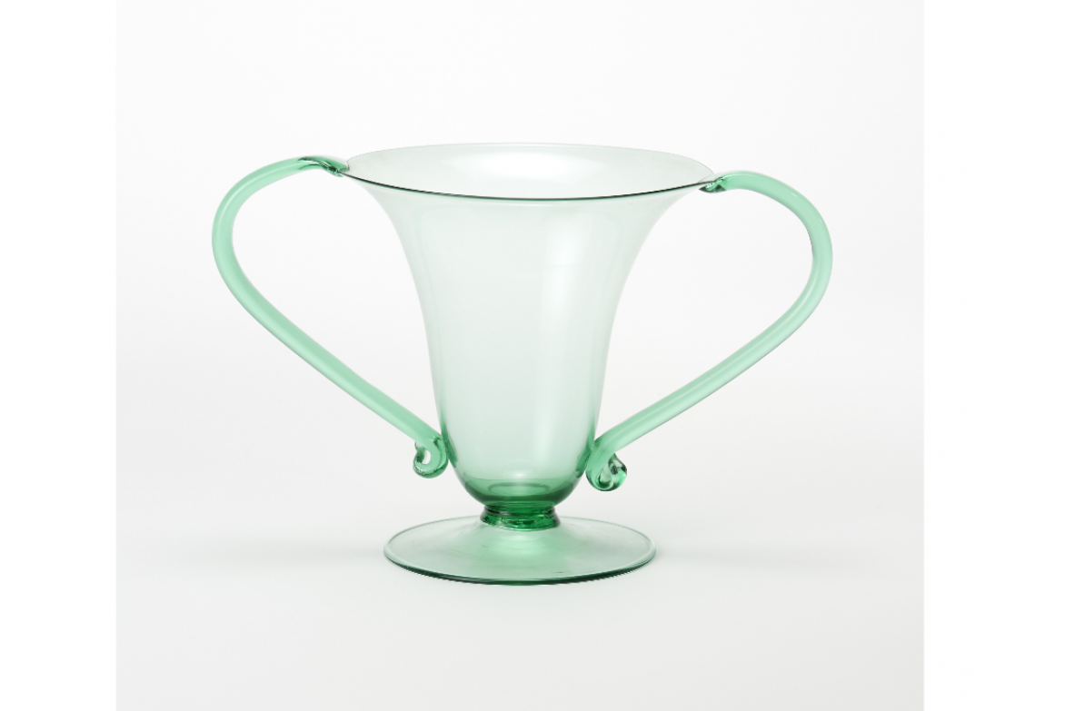 "Murano manifacture, vase in translucent light green blown glass inspired by the ""Libellula"" model by Vittorio Zecchin."