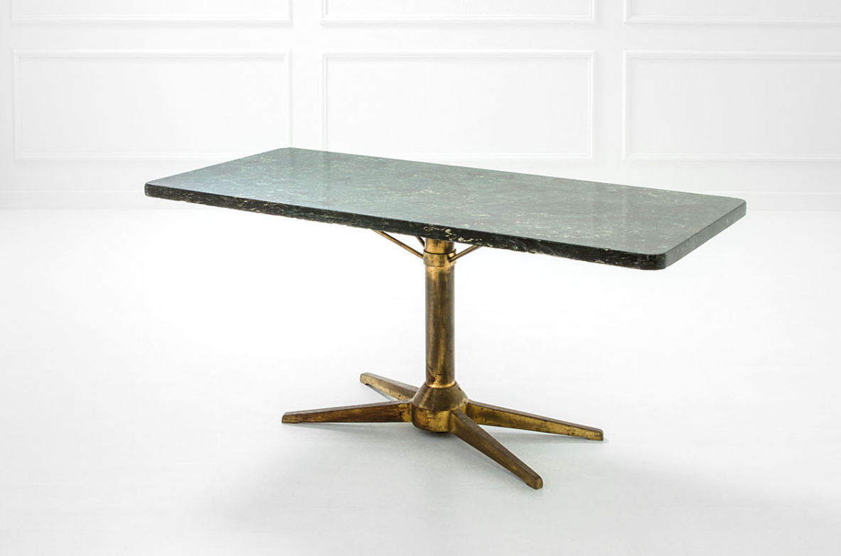 L. Caccia Dominioni, 1950's elegant table/console with bronze structure and an important green Alpi marble top.