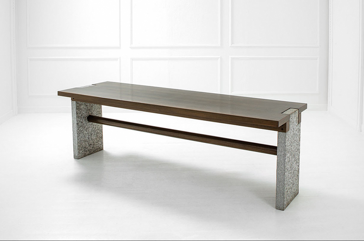 Carlo Scarpa, very elegant dining table in wood and marble. Italy 1970.