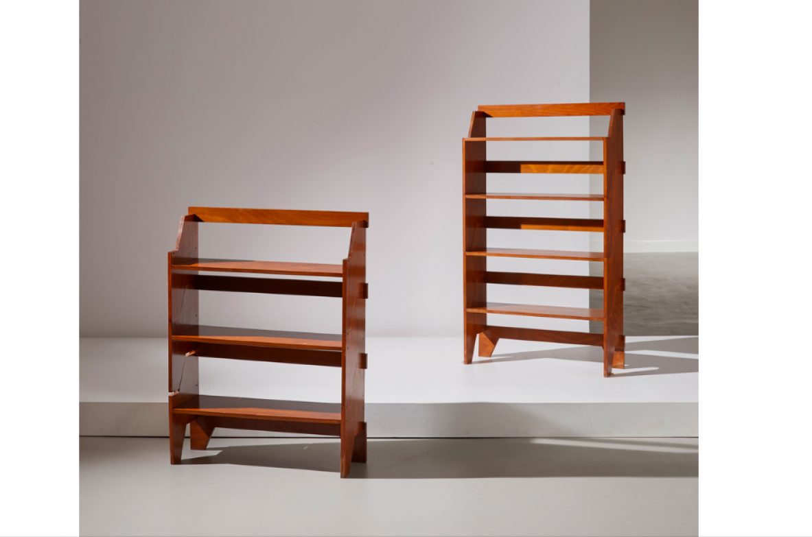 Pair of modular bookcases in beech wood