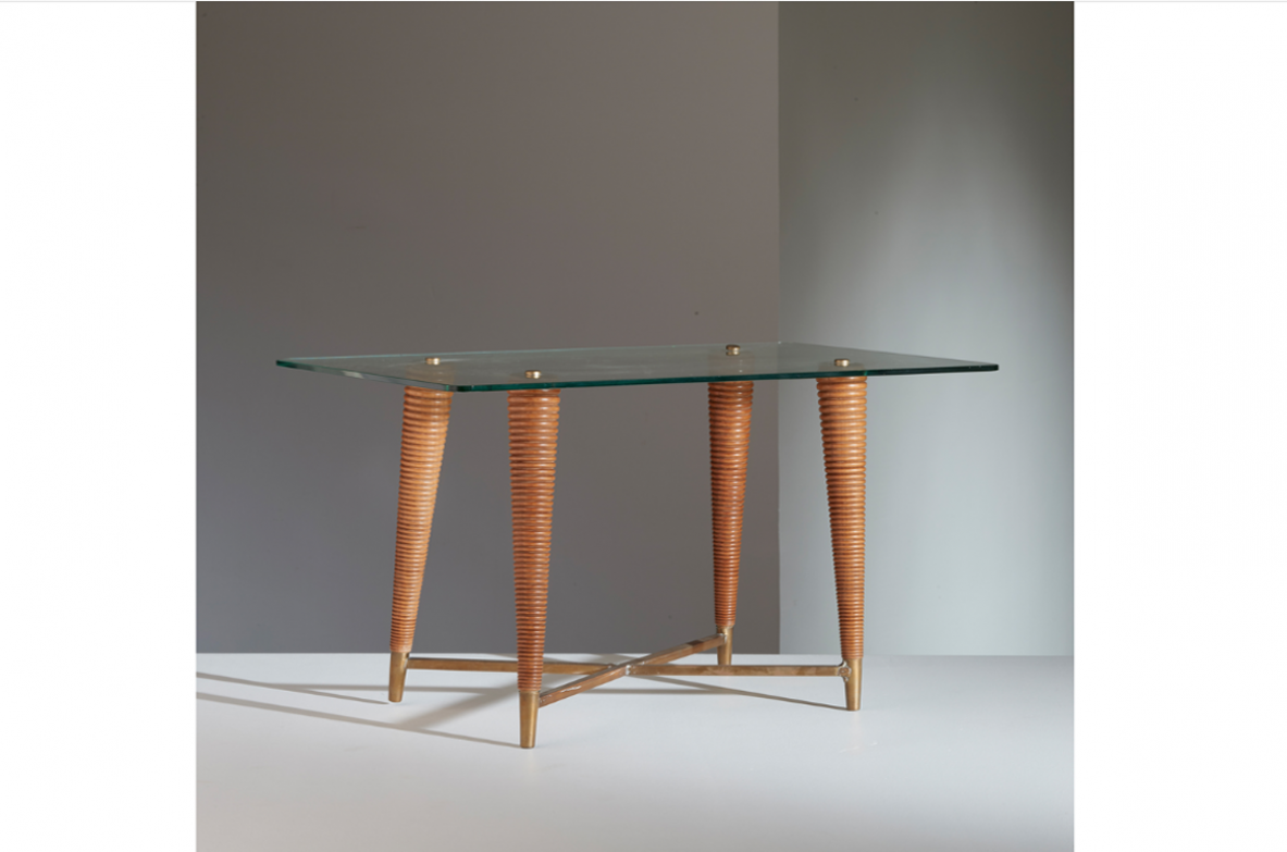 Melchiorre Bega, rare coffee table with legs made of turned wood and brass cross, crystal top