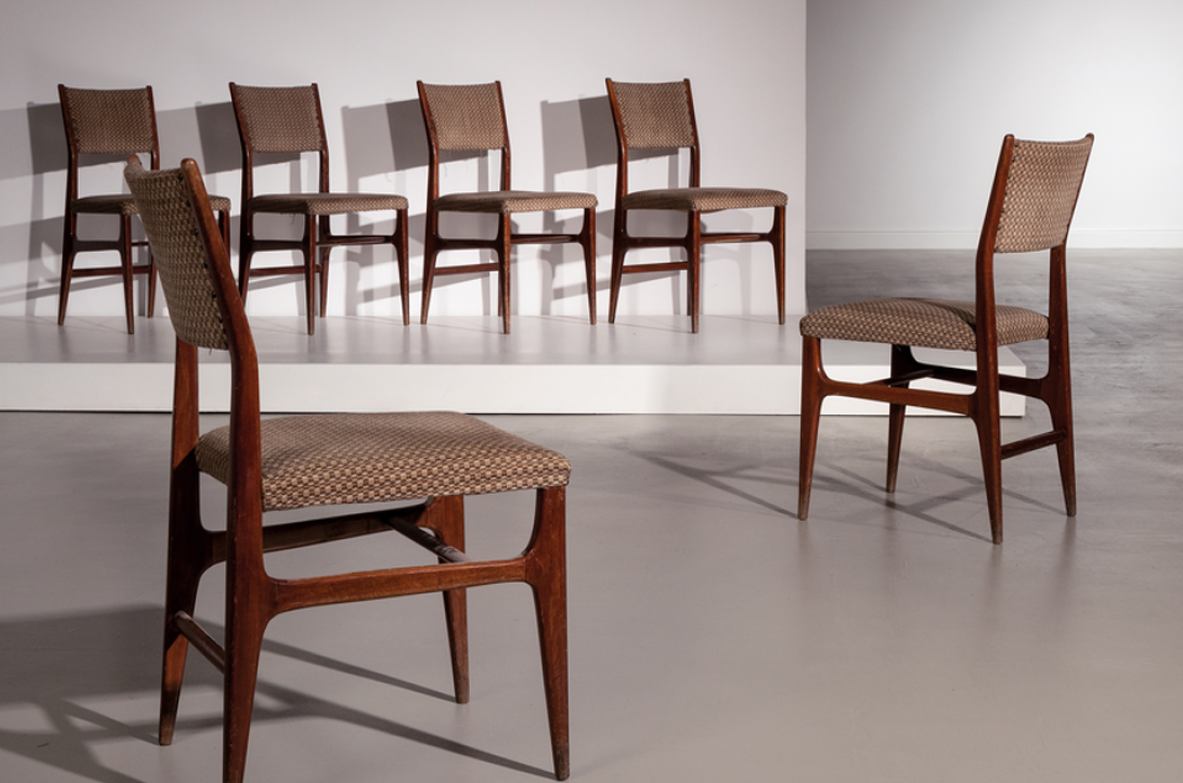 Gio Ponti, 2 chairs model 111 in stained wood and upholstered fabric