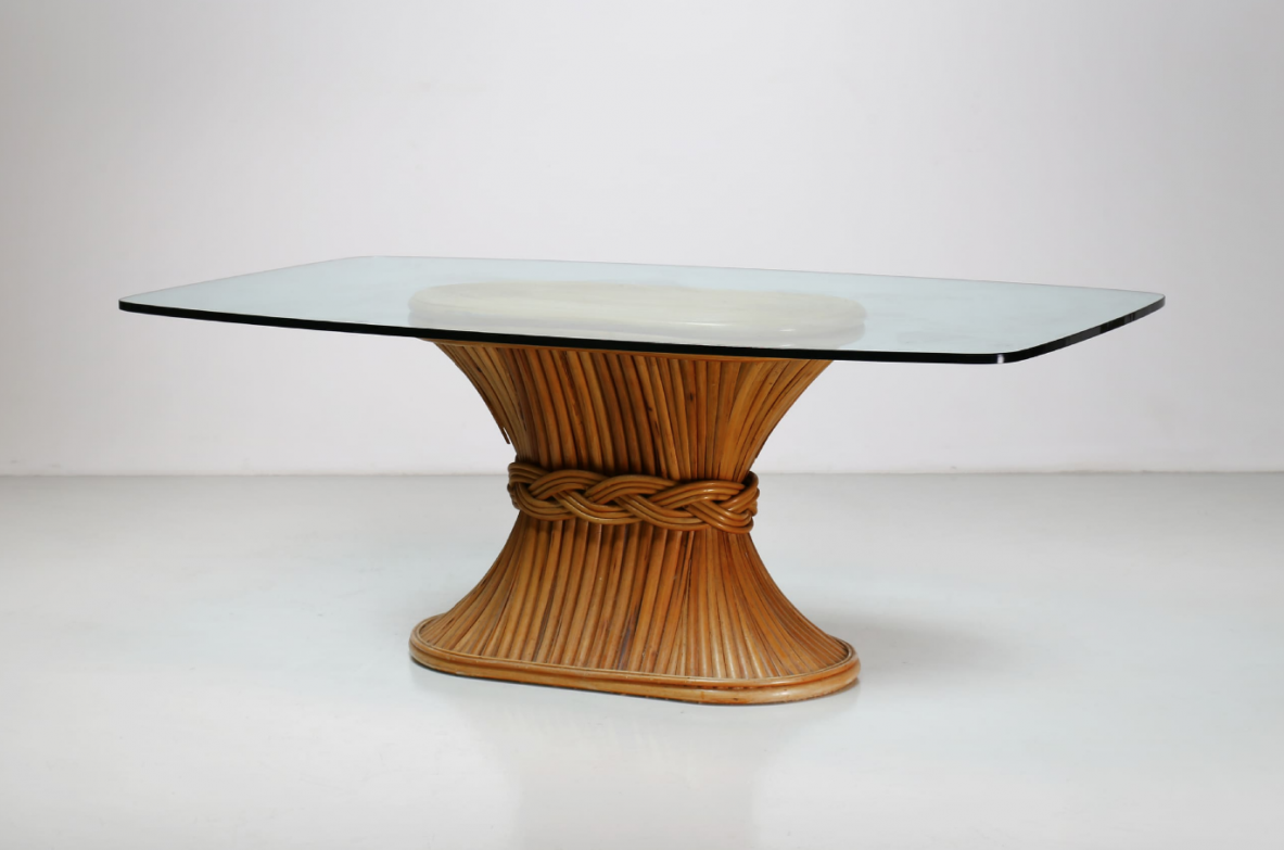 McGuire, 70s dining table made of bamboo with crystal top.
