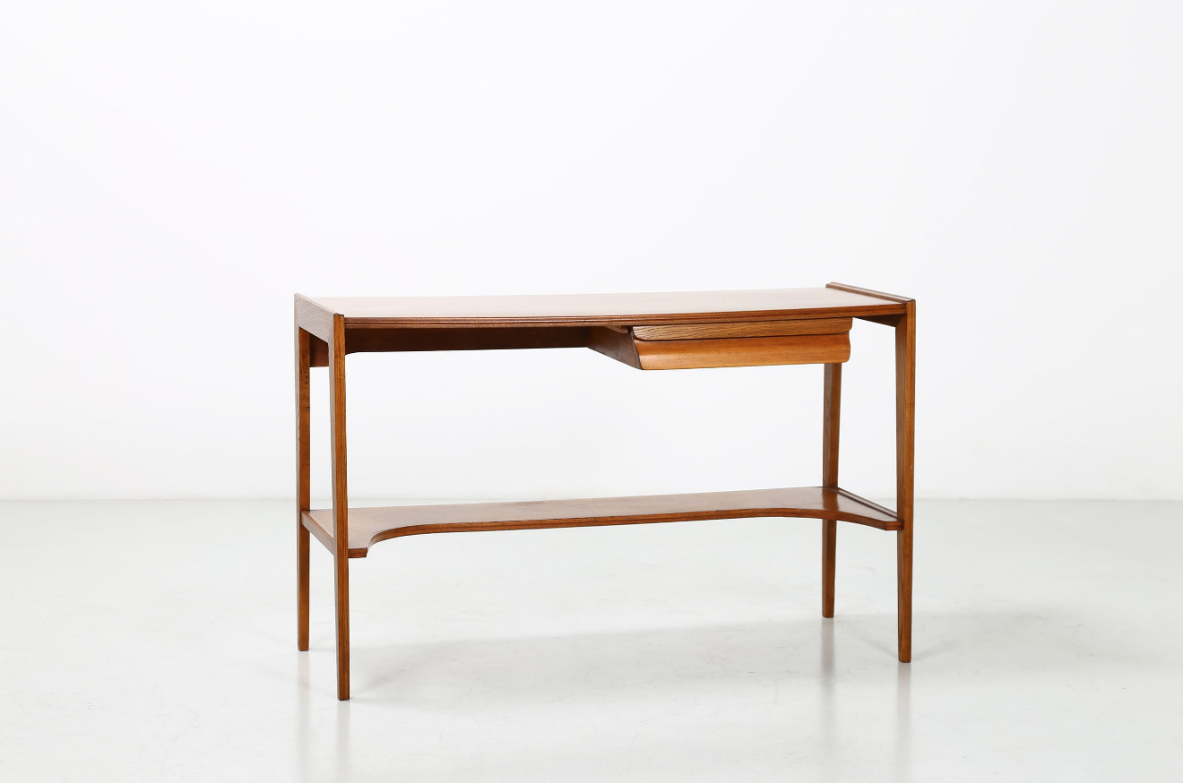 Beech wood console with drawer. Italy, 1950ca.