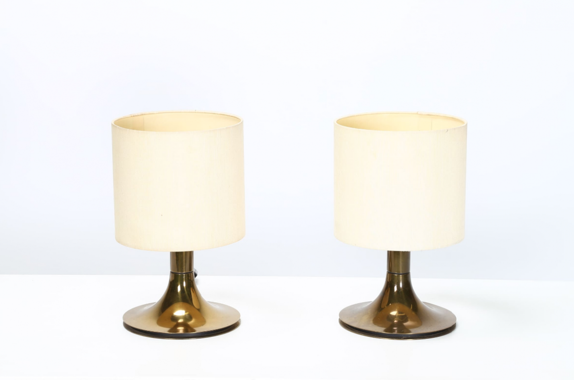 Pair of brass table lamp, attr. OLUCE. Italy, 1960ca.