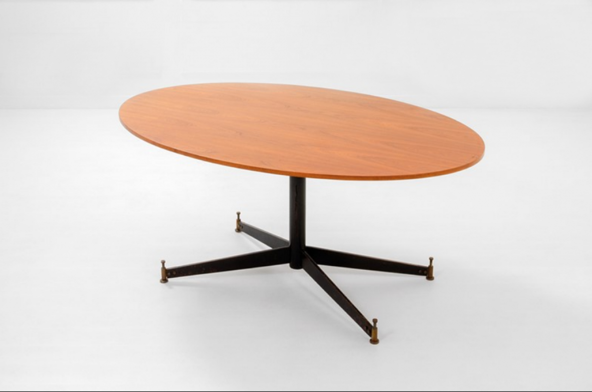 Ignazio Gradella, table mod.T2.  Top in wood, structure in enamelled metal and brass detail